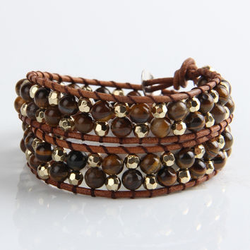 Amber And Silver Mix Wrap Bracelet