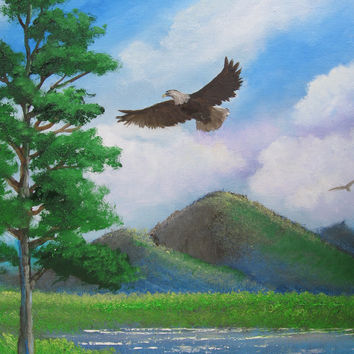 Original Oil Painting Landscape Art Bald Eagle Painting Mountain painting oil on canvas Impressionismby whirlsart