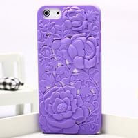 Silicone Peony Carved IPhone5 Case on Luulla