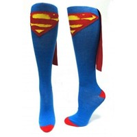 Superman Logo DC Comics Superhero Cape Knee High Socks
