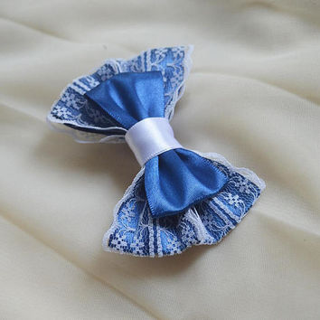 Hair bow - navy blue and white - goth dark lolita harajuku romantic princess fashion kawaii costume sailor uniform bow - nekollars