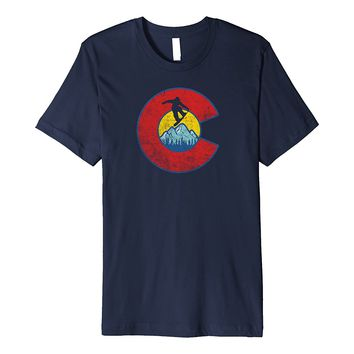 Retro Colorado Flag Snowboarder Tee - Snowboarding Mountain