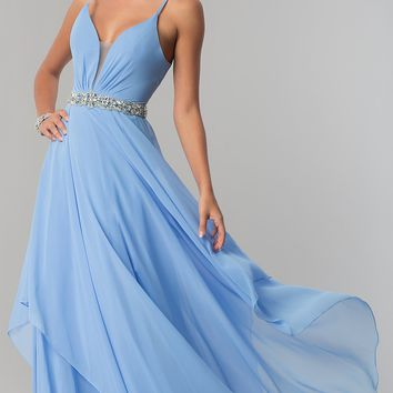 Long Ruched V-Neck Chiffon Prom Dress with Jewels