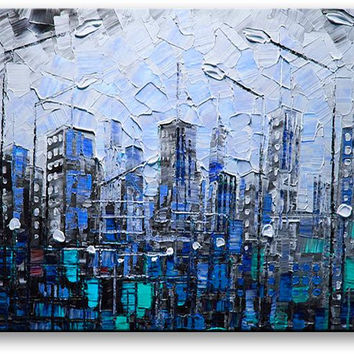 Oil Painting Abstract Modern Contemporary Home Decor Art on Canvas Blue City Nights