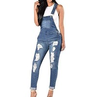 Women Overalls Cool Denim Jumpsuit Ripped Holes Casual Jeans Sleeveless Jumpsuits