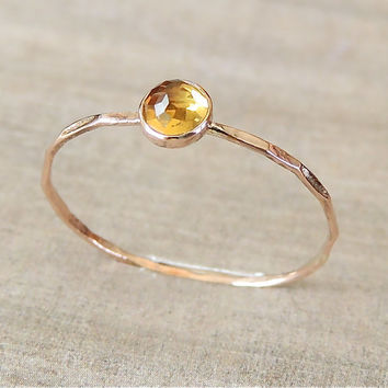 Citrine Gold Ring, 14k Rose Gold Ring, Yellow Gold Ring, Birthstone Ring, Birthstone Jewelry, November Ring, Stackable Ring