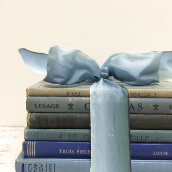 Something Blue, French Books, French Book Lot, Seaside Wedding, Decorative French Books, French Blue Books, Bridal Shower, Beach Wedding