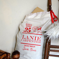 Personalized Santa Sack - Checked Twice and signed by Santa Claus