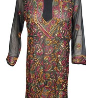 Mogul Interior Womens Dress Long Tunic Black Floral Embroidered Bohemian Kurti L: Amazon.ca: Clothing & Accessories