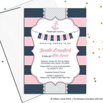 Navy pink baby shower invitations girls nautical baby shower invite girls, stripe invites, girl baby shower, printable or printed - WLP00785
