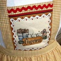 Grandma's Gingerbread Apron Bib Front with Cookie Design