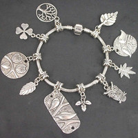 Free Shipping  Tibetan Silver Mixed bird leaf owl Tree Charms dangle bead Pandora Style Bracelet For Gift   PB0011