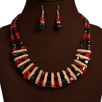 Red and Black Vintage Geometric Beaded Necklace and Earrings