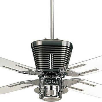 "0-018790>Retro 1-Light 52"" 4-Blade Ceiling Fan Chrome"