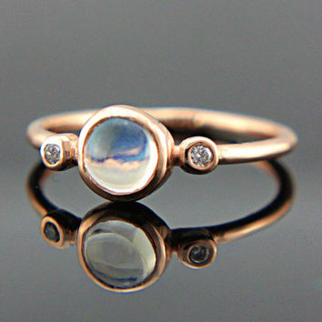 Rainbow Moonstone and Diamond Ring 14k Rose Gold Natural Moonstone Diamond Gold Ring Made in Your Size Rainbow Moonstone Engagement Ring