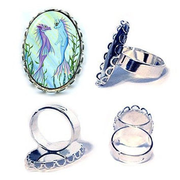Mermaid Cat Ring Sea Dragon Mercat Silver Cat Ring Sunrise Fantasy Cat Art Cameo Ring 25x18mm Gift for Cat Lovers Jewelry