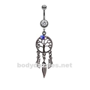 Hematite Tree of Life Dreamcatcher Belly Button Ring Stainless Steel Body Jewelry