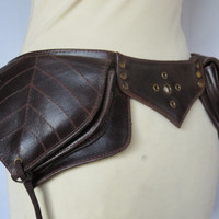 Utility belt Steampunk style in  Brown Leather - Leaf Model (Fanny pack , burning man , leather belt , hippie belt)