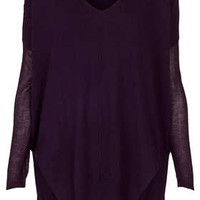 Knitted Sheer Solid V Neck Top - Knitwear  - Clothing