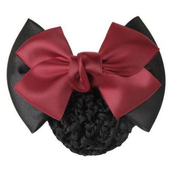 DCCKLW8 1 X Fine Women Lady Girls Bow Barrette Hair Clip Cover Bowknot Hairpin Bun Snood Hair Accessories