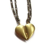Best Friend Necklaces Bronze Half Heart by KitschBitchJewellery