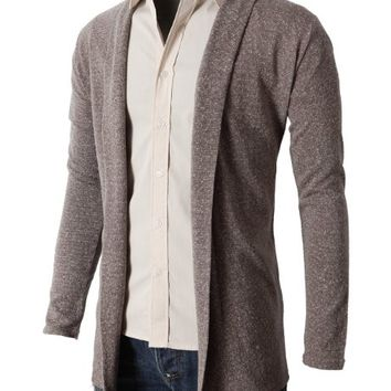 H2H MENS SHAWL COLLAR LONG CARDIGAN BEIGE Asia XL (KMOCAL011)