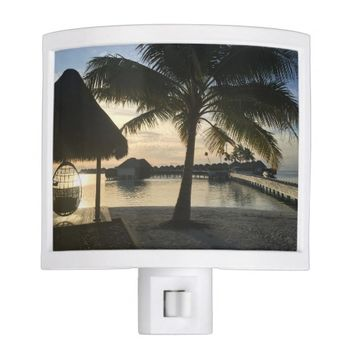 Tropical Sunset Palm Tree Beach Bungalows Night Light