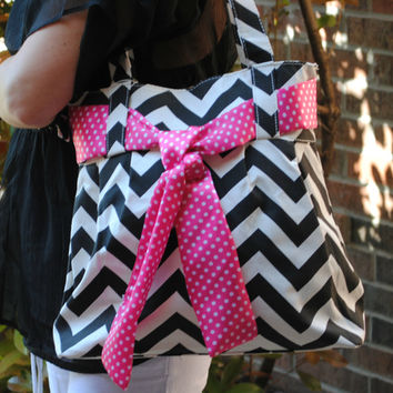 Black and White Chevron Hobo Bag with Pink Tie