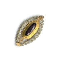 Art Deco Pendant Charm, Amethyst Glass And Clear Rhinestone, Marquis Setting In Matte Gold Tone