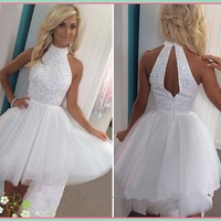White Homecoming Dress, Halter Neck Open Back Homecoming Dress