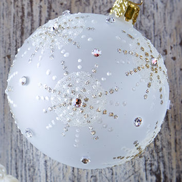Snowflake Ball Christmas Ornament, Set of 2 - Neiman Marcus