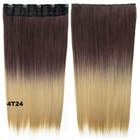 """Dip dye hairpieces New Fashion 24"""" Women Clip in on gradient wig Bath & Beauty Hair Ombre Hair Extensions Two Tone Straight hair Gradient Hair Extension Colorful Hairpieces GS-666 4T24,1PCS"""