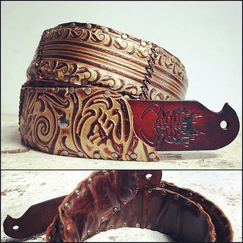 Custom Leather Guitar Strap, One of a Kind ALWAYS. Any Length. Guitar / Bass