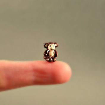 Micro Monkey - Hand Sculpted Miniature Polymer Clay Animal