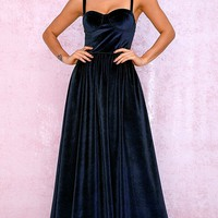 Call Me Sweetheart Navy Blue Velvet Sleeveless Sweetheart Neckline Flare A Line Maxi Dress