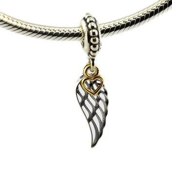 DIY Fits Pandora Charms Bracelets Angel Wing Beads with 14K Real Gold Heart 925 Sterli