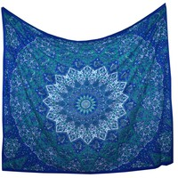 HOUSEWARMING GIFT Christmas Present Mandala Fringed Tapestry Bed Spread