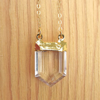 Gold Dipped Crystal Quartz Point Necklace