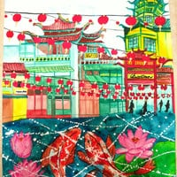Chinatown Chinese New Year Koi Fish Watercolor Painting Poster Print