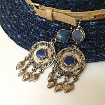 Blue Lapis Earrings Kuchi Earrings Big Round Earrings Gypsy Earrings Silver Disk Earrings Tribal Earrings Kuchi Jewelry Gypsy Jewelry Blue