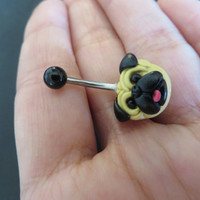 Pug Belly Button Ring Dog Navel Stud Jewelry Bar Barbell Piercing