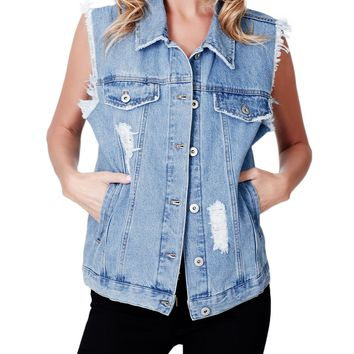 LE3NO Womens Vintage Oversized Distressed Sleeveless Denim Vest