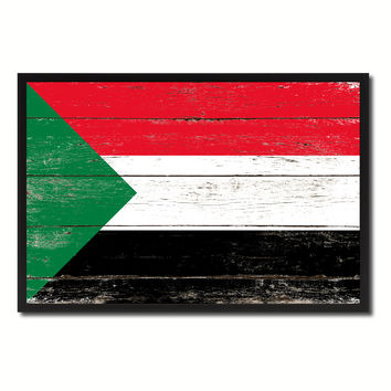 Sudan Country National Flag Vintage Canvas Print with Picture Frame Home Decor Wall Art Collection Gift Ideas