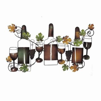 "19"" Classic Wine Garden Metal Wall Art Decor Sculpture"
