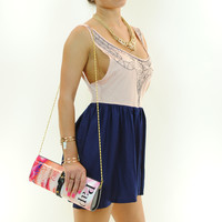(ans) Sweet embroidered pleated blush romper