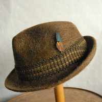 Vintage Traditional German Sports Mixed Hair Trilby Fedora Hat UK 6 3/4