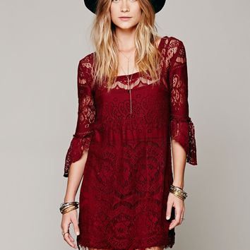 Hot Sale Women's Fashion Free People Lace Dress Half-sleeve One Piece Dress [8669104583]