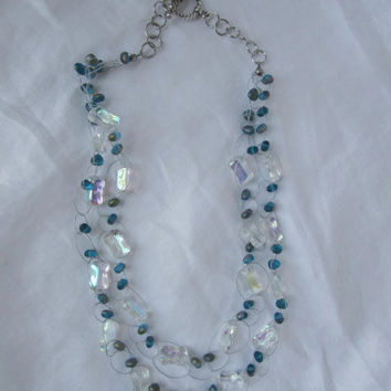 Wire Crochet Beaded Necklace And Earring Set -Vitrail Aqua Blue And Iridescent Beads Handmade