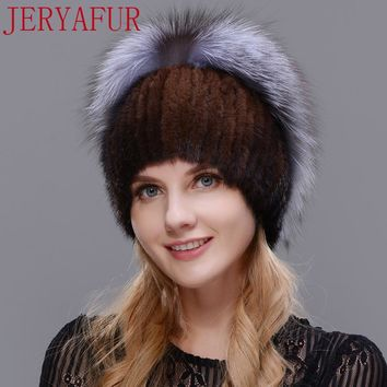 Fur hooded lady winter mink fur leather knit mink fox fur cap lady Russian warm shawl hat 2017 new woman