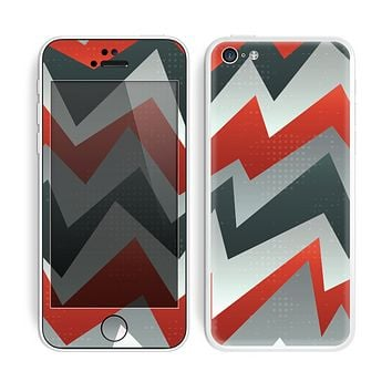 The Abstract Red, Grey and White ZigZag Pattern Skin for the Apple iPhone 5c